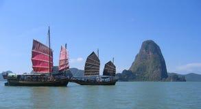 De reisboten van de sampan Stock Foto's