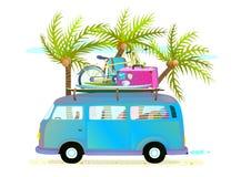De reisbus van de vakantiezomer voor strand tropische vakantie met bagage Stock Fotografie