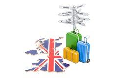 De Reisconcept van het Verenigd Koninkrijk Britse vlag op kaart met koffer Royalty-vrije Stock Afbeeldingen