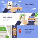 De reisconcept van de taxidienst Vectorillustratie van gele cabine op weg en mobiele app op het smartphonescherm stock illustratie