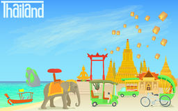 De reisconcept van Thailand, beeldverhaalstijl Stock Afbeelding