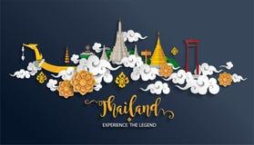 De reisconcept van Thailand de Meeste Mooie Plaatsen vector illustratie