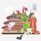 De reisillustratie van China met Chinees meisje Chinees plaatst met architectuur, voedsel, kostuums, traditionele symbolen Chines Royalty-vrije Stock Afbeeldingen