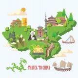 De reisillustratie van China met Chinese groene kaart Chinees plaatst met architectuur, voedsel, kostuums, traditionele symbolen  Royalty-vrije Stock Fotografie
