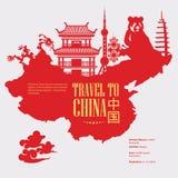 De reisillustratie van China met Chinese rode kaart Chinees plaatst met architectuur, voedsel, kostuums, traditionele symbolen Ch Stock Foto's