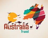 De reiskaart van Australië, decrative symbool Royalty-vrije Stock Afbeelding