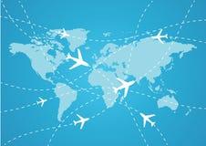 De reiskaart van de wereld Stock Fotografie