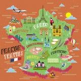 De reiskaart van Frankrijk stock illustratie