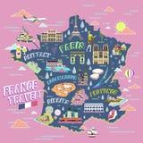 De reiskaart van Frankrijk royalty-vrije illustratie