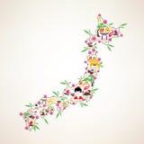 De reiskaart van Japan, decrative symbool van de eilanden van Japan Royalty-vrije Stock Afbeelding