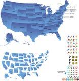 De reiskaart van de V.S. met staten en spelden en vlaggen voor bestemmingen stock fotografie