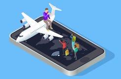 De reismanager nodigt uit om vectorconcept te reizen Isometrisch online reis het boeken concept royalty-vrije illustratie