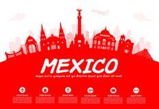 De Reisoriëntatiepunten van Mexico stock illustratie