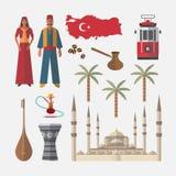 De reispictogram van Turkije Reeks van architectuur, mensen, punten Stock Fotografie