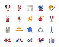 De reispictogrammen en elementen van Frankrijk met beroemde Franse symbolen Stock Afbeelding