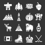 De reispictogrammen van Canada geplaatst grijze vector Stock Foto's
