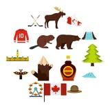 De reispictogrammen van Canada in vlakke stijl worden geplaatst die Royalty-vrije Stock Afbeelding