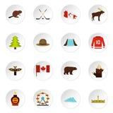 De reispictogrammen van Canada in vlakke stijl worden geplaatst die Stock Afbeelding