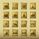 De reispictogrammen van de papyrus vector illustratie