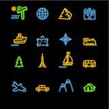 De reispictogrammen van het neon Stock Foto's
