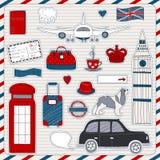 De reispictogrammen van Londen Stock Foto's