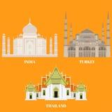 De reispictogrammen van Thailand, van Turkije en van India Het sightseeingssymbolen van het land, Oostelijke en Aziatische oriënt stock illustratie