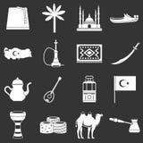 De reispictogrammen van Turkije geplaatst grijze vector Royalty-vrije Stock Afbeelding