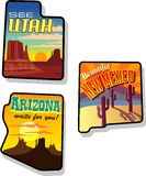 De Reisstickers van Utah, van Arizona en van New Mexico Stock Afbeelding