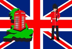 De reissymbolen en ontwerp van Groot-Brittannië Stock Afbeeldingen