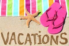 De reistekst van het vakantiestrand Stock Foto