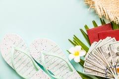 De reisvlakte legt punten: vers ananas, bloem, contant geldgeld, paspoort, strandpantoffels en palmblad Plaats voor tekst Hoogste stock fotografie