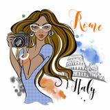 De reizen van de meisjestoerist naar Rome in Italië fotograaf Reis Vector vector illustratie