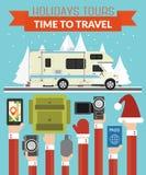 De Reizen van de nieuwjaarvakantie ontwerpen vlakte met kampeerauto, aanhangwagen vector illustratie