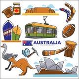 De reizende kaart van Australië met bestemmingen en dieren stock illustratie