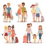 De reizende mensen van de familiegroep op de vlakke vectorillustratie van het vakantie samen karakter Stock Fotografie