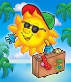 De reiziger van de zon met palmen Stock Fotografie