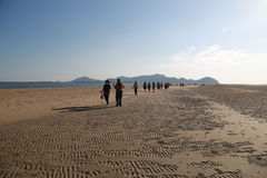 De reizigers lopen op het strand verschijnen wanneer water - neer Stock Foto's