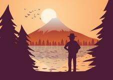 De reizigerstribune om in Fuji te bekijken zet rond bij zonsondergang met boom op stock illustratie