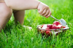 De rek van de kind` s hand aan roomijs met aardbeien Het concept een picknick, de zomervoedsel, mooi well-kept gazon stock afbeeldingen