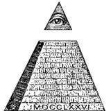 De rekening van Illuminatisymbolen, vrijmetselaars- teken, allen die oogvector zien Één dollar, piramide De nieuwe Orde van de We vector illustratie