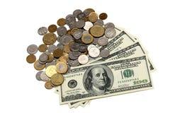 De rekeningen en de muntstukken van de dollar royalty-vrije stock fotografie