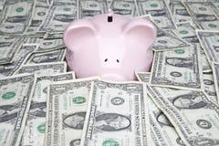 De rekeningen en het spaarvarken van de dollar Royalty-vrije Stock Foto