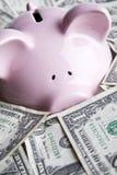 De rekeningen en het spaarvarken van de dollar Royalty-vrije Stock Foto's