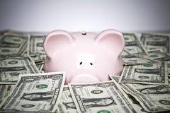De rekeningen en het spaarvarken van de dollar Stock Foto's