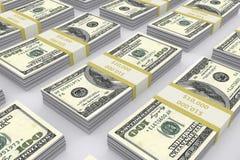 De rekeningen van de dollar in een rij Stock Afbeeldingen