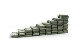 De rekeningen van de gelddollar in pakken in de vorm van stappen worden opgemaakt die isolat Stock Afbeelding