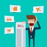 De rekeningen van de zakenmanholding voelt hoofdpijn en maakten zich over het betalen van heel wat rekeningen ongerust Zakenman g Royalty-vrije Stock Afbeeldingen