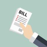 De rekeningen van de handholding Het betalen van rekeningsconcept Vlakke illustratie stock illustratie