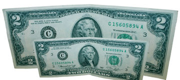 De Rekeningen van twee Dollars Stock Foto