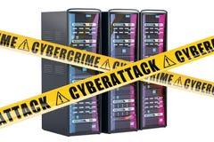 De Rekken van de computerserver, cyber aanvalsconcept het 3d teruggeven Royalty-vrije Stock Afbeeldingen